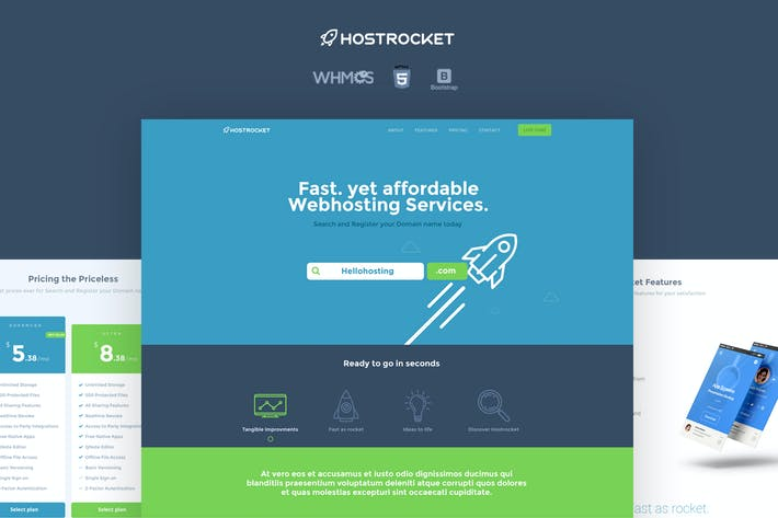 Thumbnail for Hostrocket WHMCS & HTML Template
