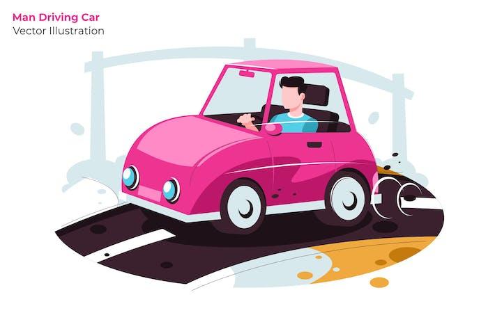 Thumbnail for Man Driving Car - Vector Illustration