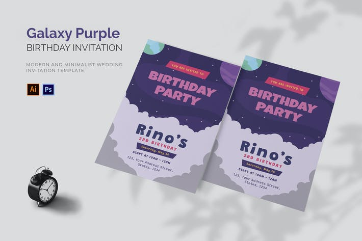 Thumbnail for Galaxy Purple - Birthday Invitation