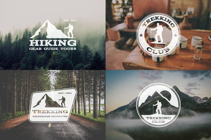 Thumbnail for 6 Trekking Adventure Badges & Branding Logos
