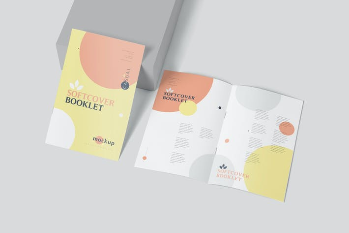 Cover Image For Rectangular Shaped Softcover Booklet Mockups