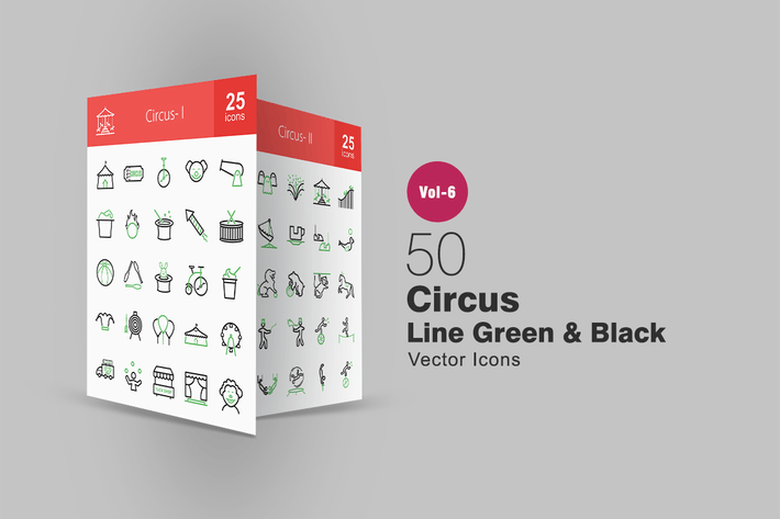 Thumbnail for 50 Circus Green & Black Line Icons