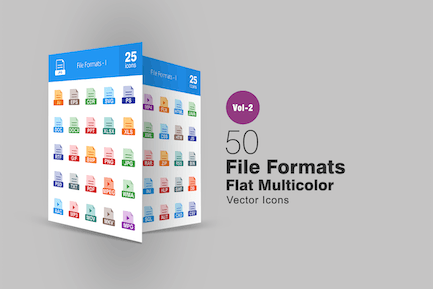 50 File Formats Flat Multicolor Icons