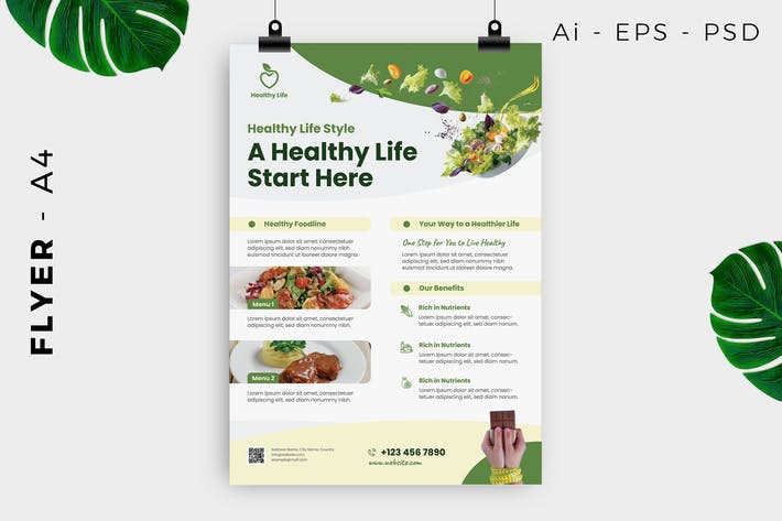Thumbnail for Healthy life style flyer template