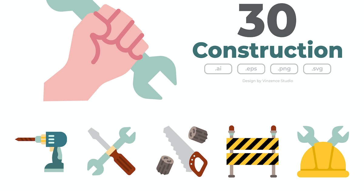 Download 40 Construction Icons - FLAT by winnievinzence