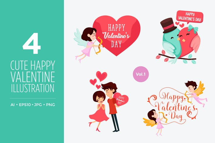 Thumbnail for Cute Happy Valentine Vector Illustration Set Vol.1