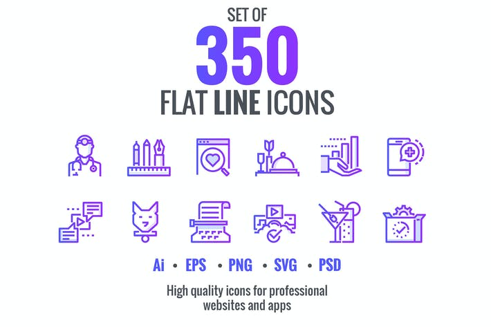 Thumbnail for Big collection of Set flat gradient icons