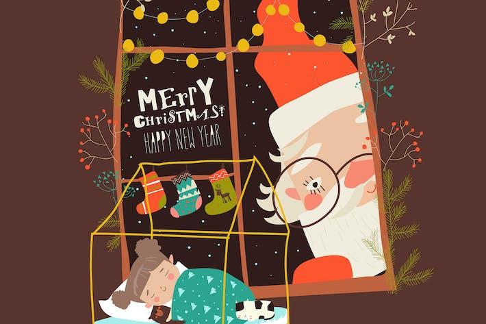 Thumbnail for Cartoon Santa Claus look through the window