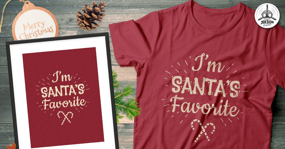 Download Christmas Santa Favorite T-Shirt, Xmas Retro Tee by JeksonJS