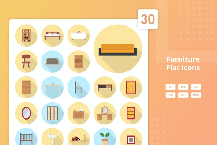 Thumbnail for Furniture Set - Flat Icons
