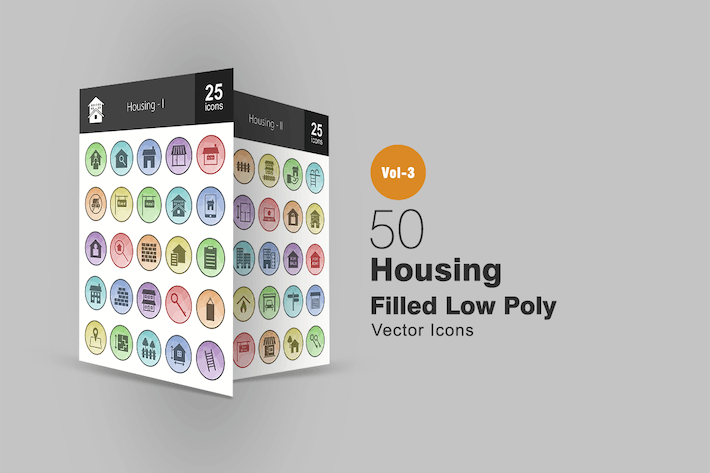 Cover Image For 50 Housing Filled Low Poly Icons