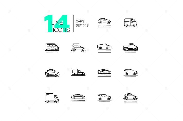 Thumbnail for Cars - set of line design style icons