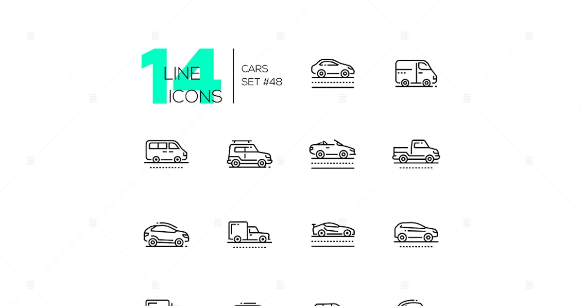 Download Cars - set of line design style icons by BoykoPictures