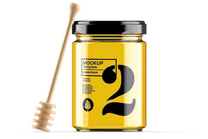 Honig-Glas mit Löffel-Mockup