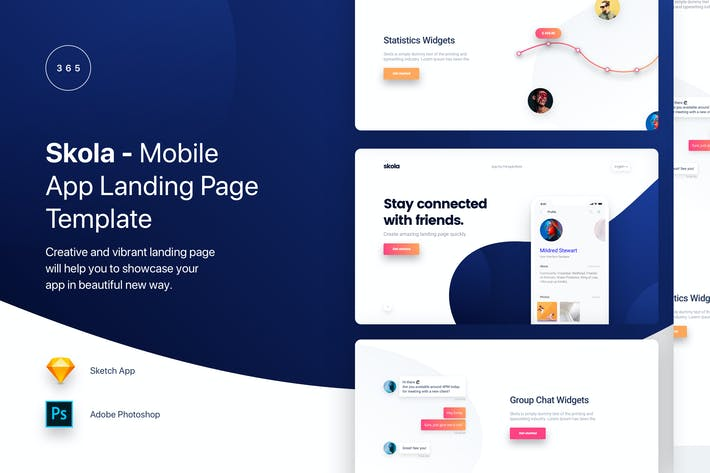 Thumbnail for Skola - Mobile App Landing Page Template