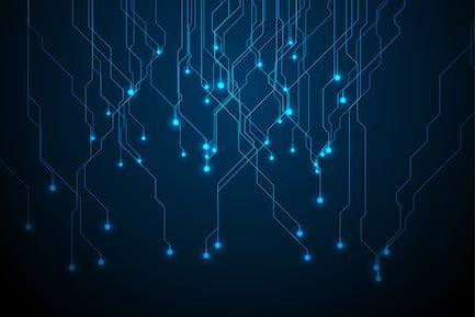 Abstrakte neonblaue Tech Leiterplattenlinien