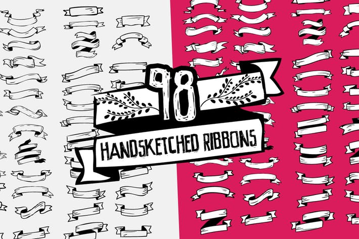 Thumbnail for 98 Handsketched Vector Ribbons