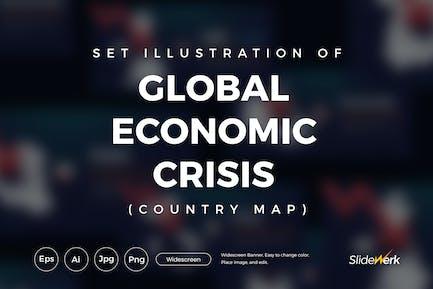 Set mit 9 Länderkarten der globalen Wirtschaftskrise