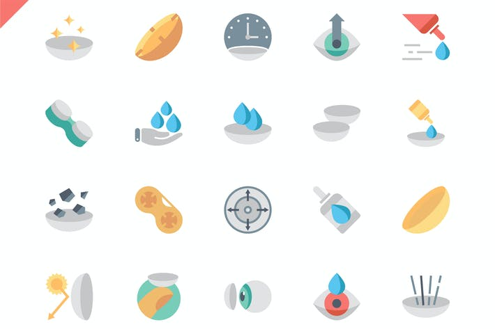 Thumbnail for Simple Set Eye Lens Flat Icons