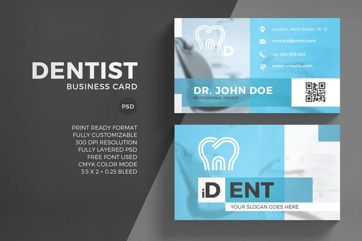 Dentist business card template by eightonesixstudios on envato elements cover image for dentist business card template flashek
