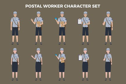 Postal Worker Character Set – Illustrations