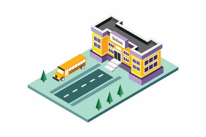 Thumbnail for Isometric School Building Vector Illustration