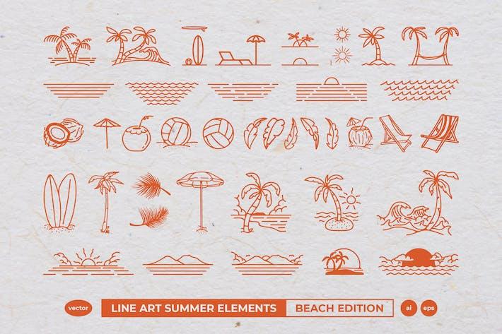 Thumbnail for Line Art Summer Elements : Beach Edition