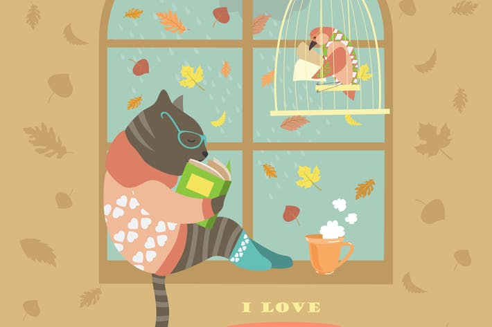 Thumbnail for Funny cat reading by the window. Vector