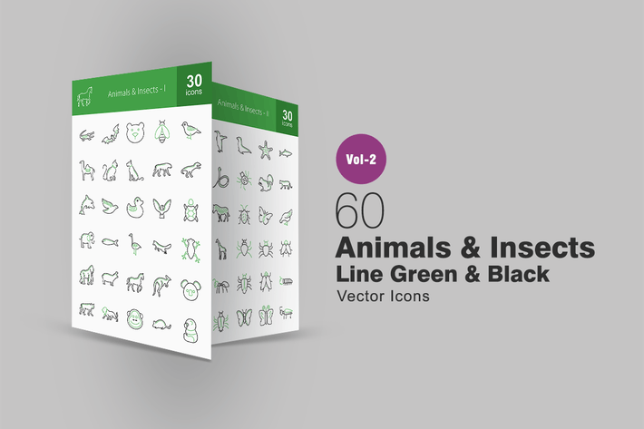 Thumbnail for 60 Animals & Insects Line Green & Black Icons