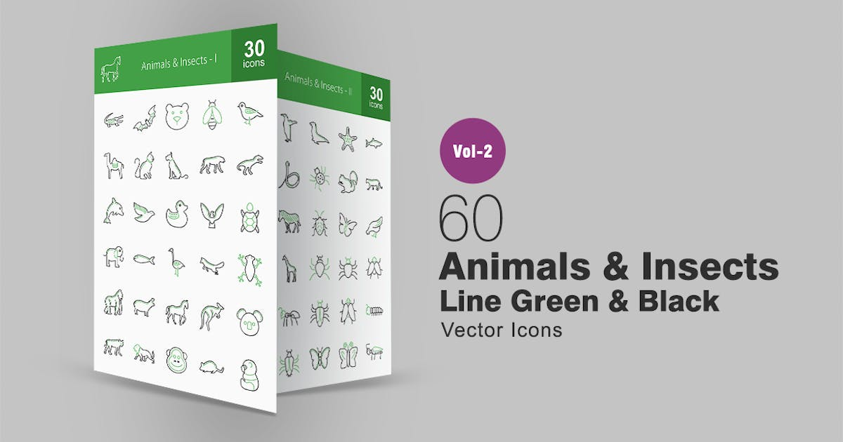 Download 60 Animals & Insects Line Green & Black Icons by IconBunny