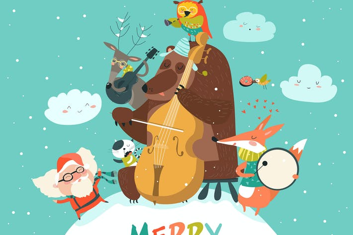 Thumbnail for Vector Merry christmas card with animals, Santa