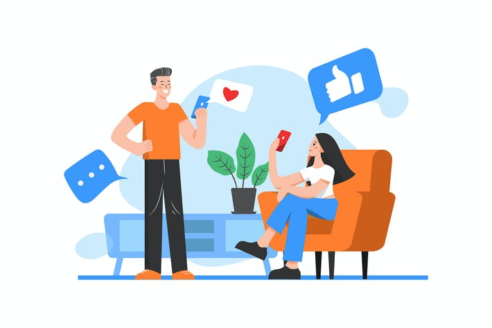 Thumbnail for Two people are talking on social networks concept