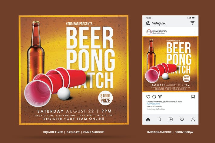 Thumbnail for Beer Pong Party Square Flyer & Insta Post