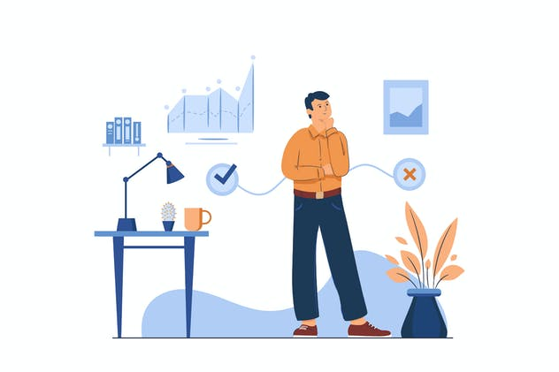 Businessman Thinking About Company Development