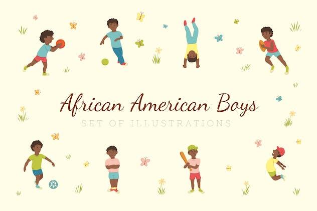 African American Boys Illustrations