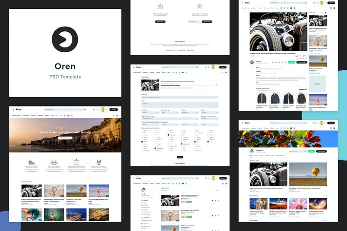 Cover Image For Oren - Video Sharing Website PSD Template