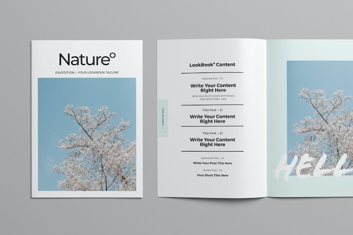 Magazine Layout with Light Blue Accents