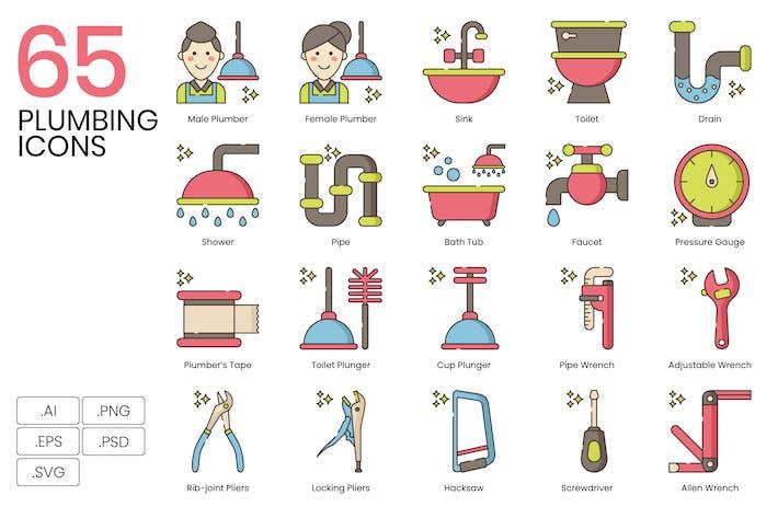 Thumbnail for 65 Plumbing Line Icons