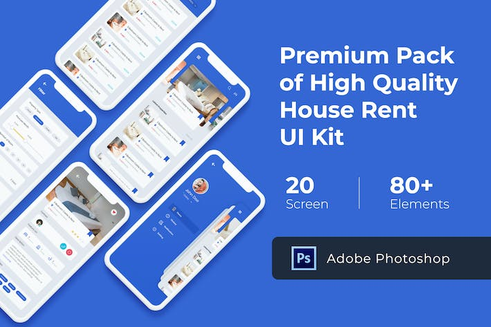 Thumbnail for House Rent Mobile UI KIT for Photoshop