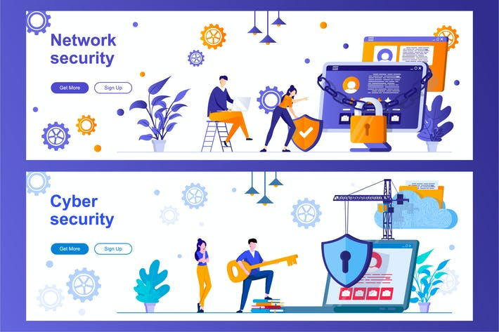 Cyber and Network Security Web Banners