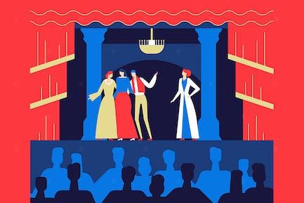 Theateraufführung - flaches Design Illustration