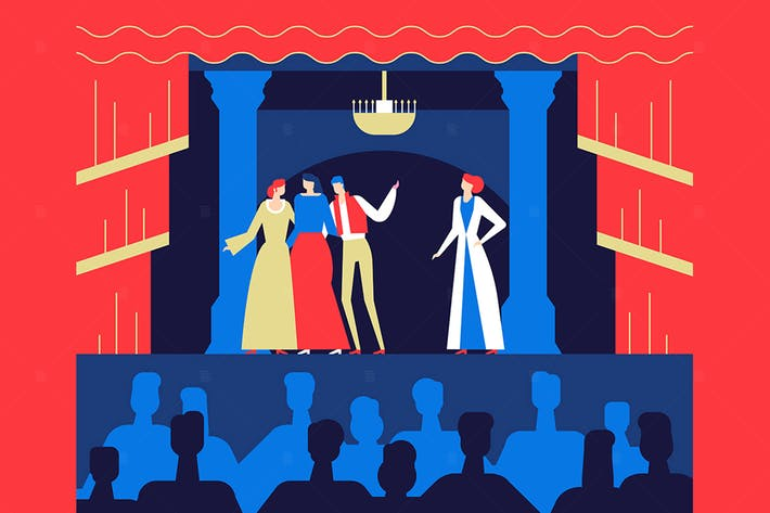 Cover Image For Theatre Performance - flat design  illustration
