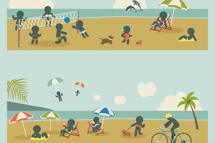 Thumbnail for Set Symbol Urlaub Menschen auf dem Meer. Vektor