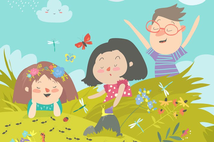 Thumbnail for Cartoon kids look at insect in grass. Vector illus