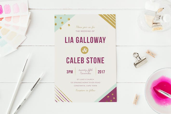 Thumbnail for Geometric Wedding Invitation