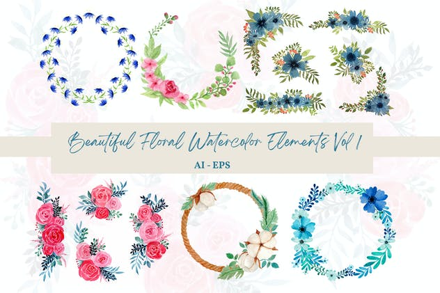 Beautiful Floral Watercolor Elements Vol 1