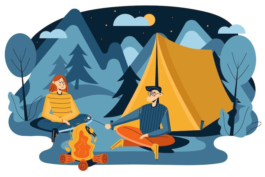 Camping adventure illustration