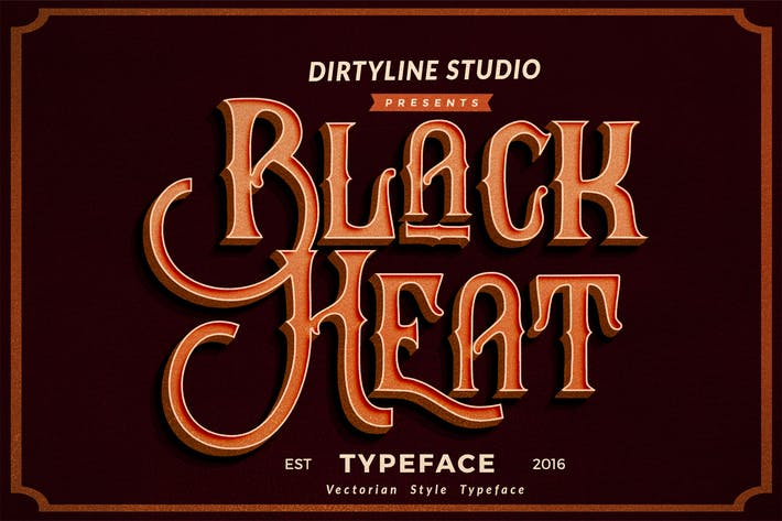 Cover Image For Black Heat - Decorative Font Logotype