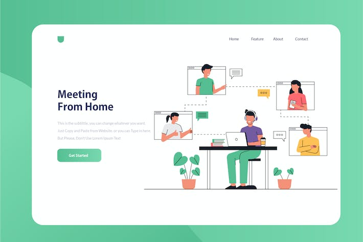 Thumbnail for Meeting At Home Onboarding Illustration