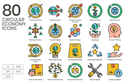 80 Circular Economy Line Icons